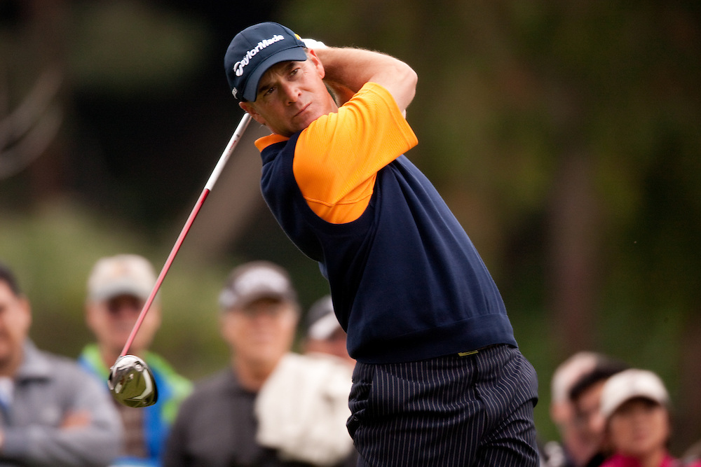 PACIFIC PALISADES, CA - FEBRUARY 22:  Scott McCarron hits his tee shot during the fourth round of the 2009 Northern Trust Open at Riviera Country Club in Pacific Palisades, California on Sunday, February 22, 2009. (Photograph by 2009 Darren Carroll)  *** Local Caption *** Scott McCarron