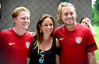 Football Fifa Brazil 2014 World Cup Matchs  / <br /> USA - MEN´S NATIONAL TEAM - BRAZIL TRAINING CAMP -<br /> ( January 2014 - Barra Funda Sao Paulo FC Training Center - Sao Paulo , Brazil ) <br /> Barra Funda Sao Paulo FC Training Center , Dax McCarty (L) and Michael Harrington of Usa (R) , with Usa Fans