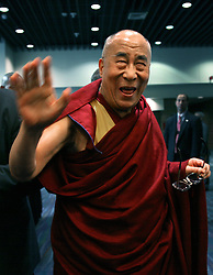 17 May 2013. New Orleans, Louisiana,  USA..His Holiness the 14th Dalai Lama jokes at a press conference at the Morial Convention Center  in New Orleans before speaking at the 'Resiliance - Strength through Compassion and Connection' conference. .Photo; Charlie Varley.