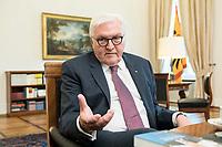 02 JUL 2018, BERLIN/GERMANY:<br /> Frank-Walter Steinmeier, Bundespraesident, waehrend einem Interview, Amtszimmer des Bundespraesidenten, Schloss Bellevue<br /> IMAGE: 20180702-01-058<br /> KEYWORDS: Bundespräsident