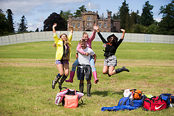 Courtney Munro, Lydia Dood Ryan Jeffries and Susan Brown. . The opening of the T in the Park 2015 campsite for the very first year at its new home at Strathallan Castle.