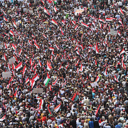 Sea of Egyptian flags in Cairo's Tahrir Square during the Day of Justice and Cleansing.