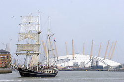 © Licensed to London News Pictures. 05/09/2014<br /> The Thalassa sailing down the River Thames.<br /> Hundreds of people have flocked to Greenwich.<br /> The Tall Ships festival 2014  starts today, marking the beginning of a week-long festival filled withl displays on the River Thames at Greenwich.<br /> <br /> (Byline:Grant Falvey/LNP)