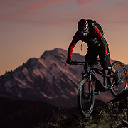 Sunset biking with Mont Blanc on the background