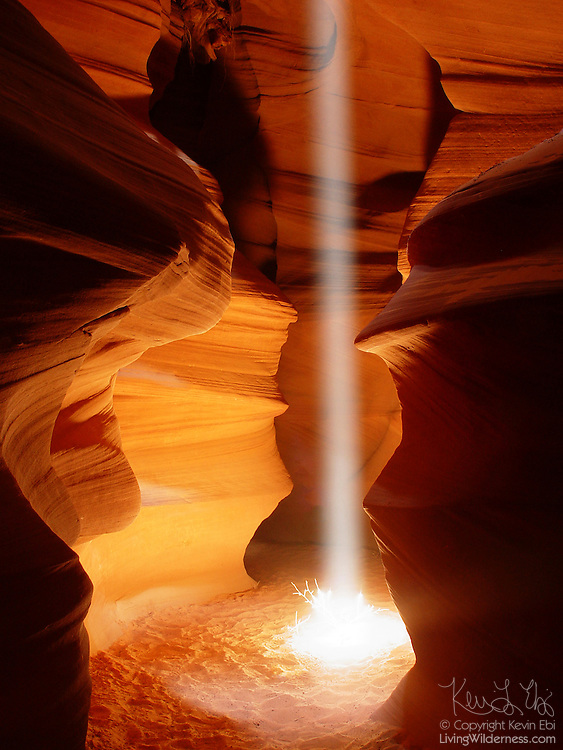 """A vibrant shaft of light illuminates a tumbleweed on the floor of Antelope Canyon in Page, Arizona. Antelope Canyon is a slot canyon that was carved by violent flash floods. Beams of light form only when the sun is nearly overhead, lighting up the blowing sand that fills the canyon, which is dozens of feet deep. The Navajo people call the canyon Tsé bighánílíní dóó Hazdistazí, which means """"the place where water runs through rocks."""""""