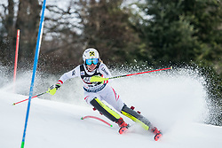 """Julia Gruenwald (AUT) competes during 1st Run of FIS Alpine Ski World Cup 2017/18 Ladies' Slalom race named """"Snow Queen Trophy 2018"""", on January 3, 2018 in Course Crveni Spust at Sljeme hill, Zagreb, Croatia. Photo by Vid Ponikvar / Sportida"""