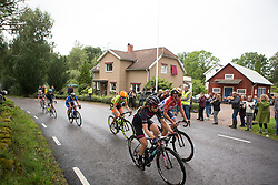 The break rides past a group of classical musicians on the long loop of the Crescent Vargarda - a 152 km road race, starting and finishing in Vargarda on August 13, 2017, in Vastra Gotaland, Sweden. (Photo by Balint Hamvas/Velofocus.com)