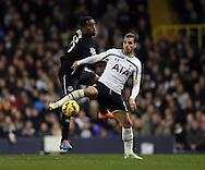 Tottenham's Roberto Soldado tussles with Everton's Sylvain Distin<br /> <br /> Barclays Premier League- Tottenham Hotspur vs Everton - White Hart Lane - England - 30th November 2014 - Picture David Klein/Sportimage