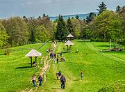 Święty Krzyż, 02-05-2019. Turystyczny szlak na Święty Krzyż z Nowej Słupii nazywany Drogą Królewską. Polana poprzedzając wejście na teren klasztoru.