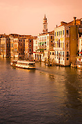 Evening light and vaporetto on the Grand Canal, Venice, Veneto, Italy