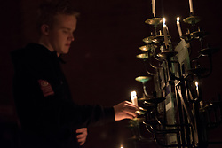 15 April 2017, Stockholm, Sweden: Easter midnight service in Kista Church, Church of Sweden. Here, Patrik Wennerkvist from Church of Sweden Youth, Stockholm District.