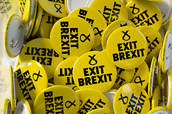Edinburgh, Scotland, UK. 27 April, 2019. SNP ( Scottish National Party) Spring Conference takes place at the EICC ( Edinburgh International Conference Centre) in Edinburgh. Pictured; SNP Exit Brexit badges at eh conference