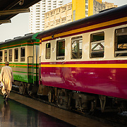 Passenger walking on platform at Hua Lamphong railway station