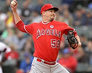 CHICAGO - SEPTEMBER 08:  Trevor Cahill #53 of the Los Angeles Angels pitches against the Chicago White Sox on September 8, 2019 at Guaranteed Rate Field in Chicago, Illinois.  (Photo by Ron Vesely)  Subject:   Trevor Cahill
