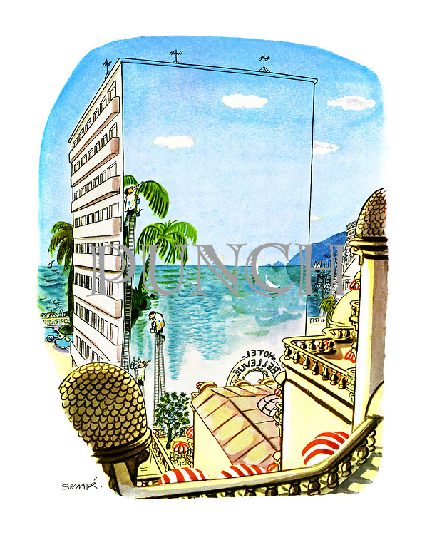 (Trompe l'oeil painting on the side of a building which is blocking the view of resort hotel)