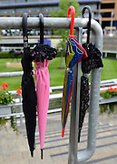 © Licensed to London News Pictures. 21/06/2012. Ascot, UK Umbrellas hang on railings. Ladies Day at Royal Ascot 21st June 2012. Royal Ascot has established itself as a national institution and the centrepiece of the British social calendar as well as being a stage for the best racehorses in the world.. Photo credit : Stephen Simpson/LNP