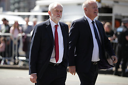 © Licensed to London News Pictures . 22/05/2018. Manchester, UK. JEREMY CORBYN arrives at Manchester Cathedral for a Service of Remembrance on the first anniversary of the Manchester Arena bombing . On the evening of 22nd May 2017 The first anniversary of the Manchester Arena bombing . On the evening of 22nd May 2017 , Salman Abedi murdered 22 people and seriously injured dozens more , when he exploded a bomb in the foyer of the Manchester Arena as concert-goers were leaving an Ariana Grande gig . Photo credit: Joel Goodman/LNP