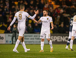 Livingston Steven Lawless cele scoring their third goal from a penalty with Livingston's other score Lyndon Dykes. Livingston 3 v 1 Raith Rovers, William Hill Scottish Cup played 18/1/2020 at the Livingston home ground, Tony Macaroni Arena.