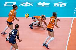 03-10-2018 NED: World Championship Volleyball Women day 5, Yokohama<br /> Argentina - Netherlands 0-3 / Anne Buijs #11 of Netherlands, Maret Balkestein-Grothues #6 of Netherlands, Yvon Belien #3 of Netherlands, Myrthe Schoot #9 of Netherlands