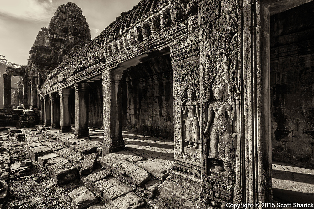 Bayon Temple, known for its stone faces, stands firm in Angkor Thom.