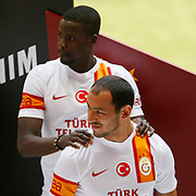 Turkish soccer team Galatasaray players Umut Bulut (F) pose during the presentation of the new uniform at the TT Arena in Istanbul Turkey on Wednesday, 18 July 2012. Photo by TURKPIX