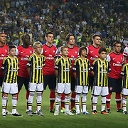 Arsenal's players during the UEFA Champions League Play-Offs First leg soccer match Fenerbahce between Arsenal at Sukru Saracaoglu stadium in Istanbul Turkey on Wednesday 21 August 2013. Photo by TURKPIX