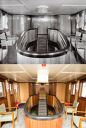 "© Licensed to London News Pictures. 30/09/2016. Birkenhead UK. Top collect picture shows the upper saloon of the Daniel Adamson in 1936, bottom picture shows the lower saloon today. The Daniel Adamson steam boat has been bought back to operational service after a £5M restoration. The coal fired steam tug is the last surviving steam powered tug built on the Mersey and is believed to be the oldest operational Mersey built ship in the world. The ""Danny"" (originally named the Ralph Brocklebank) was built at Camel Laird ship yard in Birkenhead & launched in 1903. She worked the canal's & carried passengers across the Mersey & during WW1 had a stint working for the Royal Navy in Liverpool. The ""Danny"" was refitted in the 30's in an art deco style. Withdrawn from service in 1984 by 2014 she was due for scrapping until Mersey tug skipper Dan Cross bought her for £1 and the campaign to save her was underway. Photo credit: Andrew McCaren/LNP"