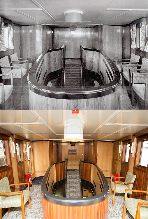 """© Licensed to London News Pictures. 30/09/2016. Birkenhead UK. Top collect picture shows the upper saloon of the Daniel Adamson in 1936, bottom picture shows the lower saloon today. The Daniel Adamson steam boat has been bought back to operational service after a £5M restoration. The coal fired steam tug is the last surviving steam powered tug built on the Mersey and is believed to be the oldest operational Mersey built ship in the world. The """"Danny"""" (originally named the Ralph Brocklebank) was built at Camel Laird ship yard in Birkenhead & launched in 1903. She worked the canal's & carried passengers across the Mersey & during WW1 had a stint working for the Royal Navy in Liverpool. The """"Danny"""" was refitted in the 30's in an art deco style. Withdrawn from service in 1984 by 2014 she was due for scrapping until Mersey tug skipper Dan Cross bought her for £1 and the campaign to save her was underway. Photo credit: Andrew McCaren/LNP"""
