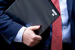 © Licensed to London News Pictures. 29/10/2019. London, UK. Prime Minister Boris Johnson leaves Downing Street holding a folder titled Election Bill.  Photo credit: George Cracknell Wright/LNP