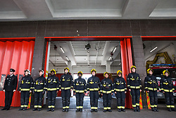 London, UK. 4th May, 2018. London Fire Brigade firefighters honour the bravery and sacrifice of colleagues who lost their lives in the course of their fire and rescue duties with a minute's silence outside Soho Fire Station on Firefighters' Memorial Day.