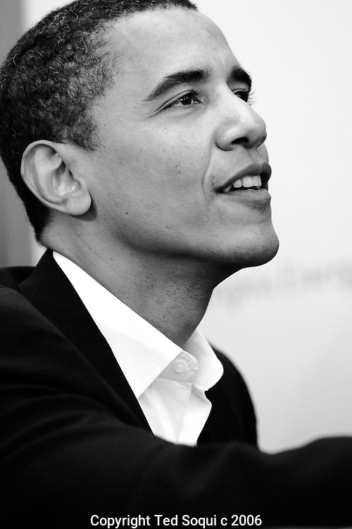 """US Senator Barack Obama of Illinois (D) visits Los Angeles to sign his new book """"The Audacity of Hope:Thoughts on Reclaiming the American Dream"""". The book signing took part at The California African American Museum. He also attended a rally to help support various Democratic ticket candidates running in California. The rally was held at the University of California."""