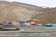 Buildings (mostly student dormitories of the University Center) in Longyearbyen, Svalbard.
