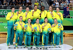 Australia celebrate with their gold medals after the Women's Gold Medal Game at the Gold Coast Convention and Exhibition Centre during day ten of the 2018 Commonwealth Games in the Gold Coast, Australia.