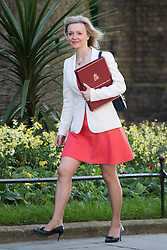 Downing Street, London, May 17th 2016. Environment Food and Rural Affairs Secretary Elizabeth Truss arrives at the weekly cabinet meeting in Downing Street.