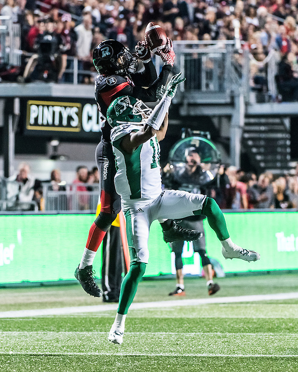 The CFL match between the Ottawa RedBlacks and the Saskatchewan Roughriders at TD Place Stadium in Ottawa, ON. Canada on Oct. 7, 2016.<br /> <br /> PHOTO: Steve Kingsman/Freestyle Photography