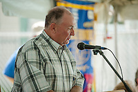 John Sleeper shares an opening prayer with the crowd gathered for the 70th Anniversary celebration of the Kiwanis Pool in St. Johnsbury Vermont.  Karen Bobotas / for Kiwanis International
