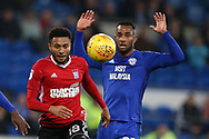 Grant Ward of Ipswich Town (l) gets away from Loic Damour of Cardiff City.  EFL Skybet championship match, Cardiff city v Ipswich Town at the Cardiff city stadium in Cardiff, South Wales on Tuesday 31st October 2017.<br /> pic by Andrew Orchard, Andrew Orchard sports photography.