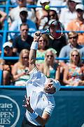 USA's John Isner serves to Argentina's Juan Martin Del Potro during their men's final singles match at the Citi Open ATP tennis tournament in Washington, DC, USA, 4 Aug 2013. Del Potro won the final 3-6, 6-1, 6-2.