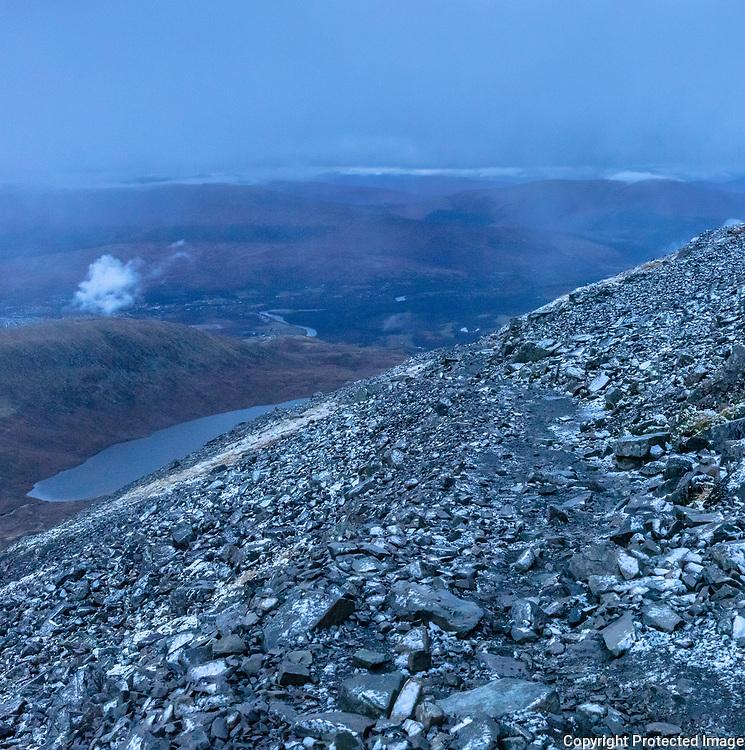 4.21pm Dusk on the approach to Lochan Meall an t-Suidhe (aka the half way lochan), Ben Nevis, Highland, Scotland.