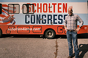 """22 SEPTEMBER 2020 - PATON, IOWA: Congressional candidate J.D. SCHOLTEN in front of his RV before a campaign event in Loren Shriver Park. Scholten, a Democrat from Sioux City, Iowa, ran against incumbent CongressmanSteve King (R-4th District Iowa) in 2018 and came within a few percentage points of upsetting the long serving conservative. King lost to Randy Feenstra, a Republican challenger, in the 2020 primary and Scholten is running against Feenstra in the 2020 general election on November 3. Iowa's 4th district, centered in the agricultural and sparsely populated northwest corner of the state, is the largest congressional district in Iowa and encompasses about ⅓ of the state of Iowa. Scholten is on his """"Every Town Tour 2020."""" He is visiting all 375 towns in the 39 counties in the district.       PHOTO BY JACK KURTZ"""