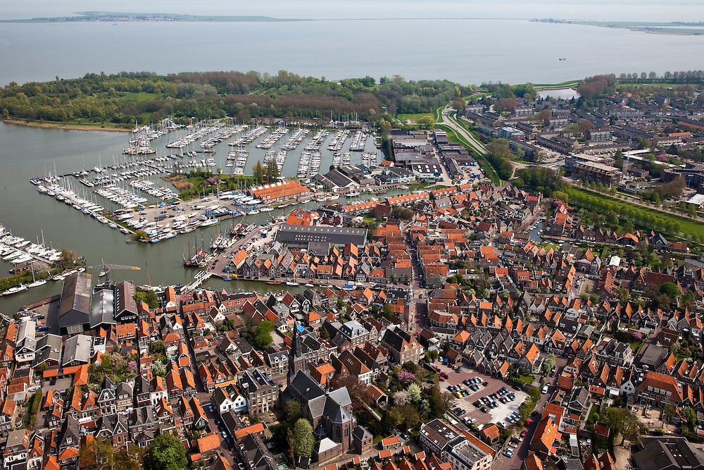 Nederland, Noord-Holland, Waterland, 28-04-2010; Monnickendam met haven en jachthaven, Gouwzee in de achtergrond..luchtfoto (toeslag), aerial photo (additional fee required).foto/photo Siebe Swart