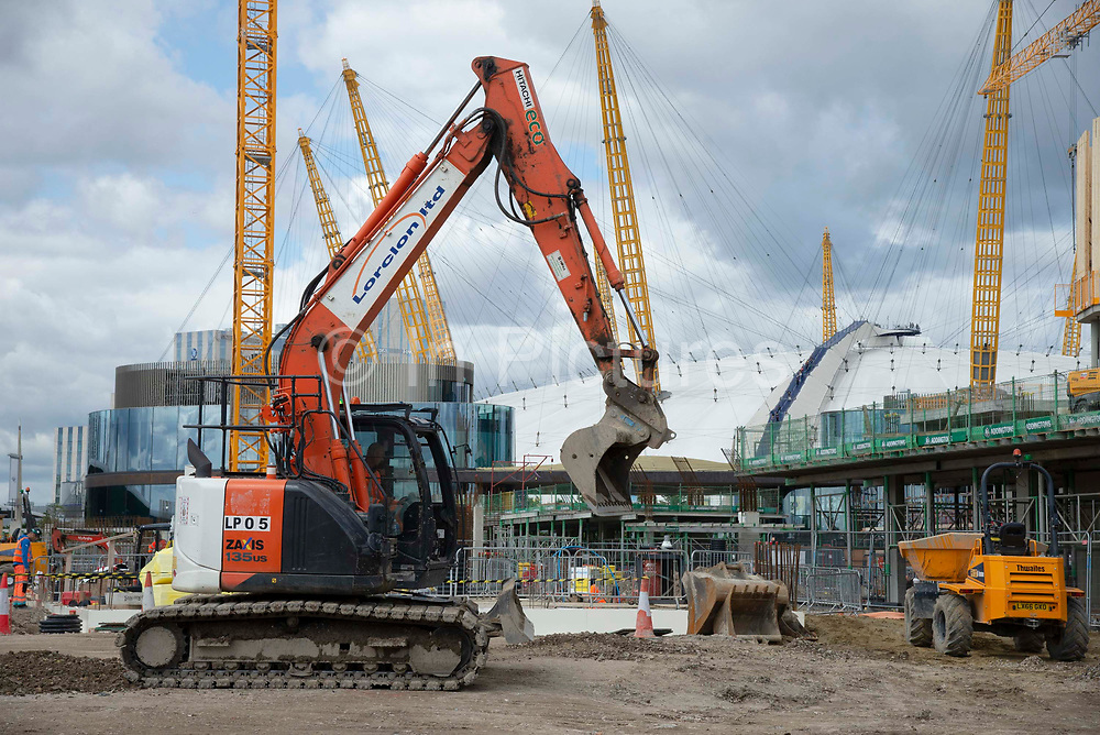On going construction work at the Design District site in Greenwich Peninsula in London, United Kingdom on 15th August , 2019. Scheduled to fully open in 2020, developers Knight Dragon Developments Ltd aim to deliver 15,000 new homes. 13,000 new jobs. 7 new neighbourhoods.