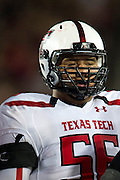 DALLAS, TX - AUGUST 30: Alfredo Morales #56 of the Texas Tech Red Raiders looks on against the SMU Mustangs on August 30, 2013 at Gerald J. Ford Stadium in Dallas, Texas.  (Photo by Cooper Neill/Getty Images) *** Local Caption *** Alfredo Morales