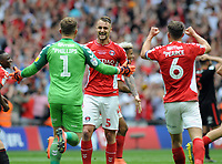 Football - 2018 / 2019 EFL Sky Bet League One Play-Off Final - Sunderland vs. Charlton<br /> <br /> Goalkeeper, Dillon Phillips runs over to celebrate with winning goalscorer, Patrick Bauer at the final whistle, at Wembley Stadium.<br /> <br /> COLORSPORT/ANDREW COWIE