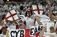 Photo: Richard Lane.<br />France v England. Semi-Final, at the Telstra Stadium, Sydney. RWC 2003. 16/11/2003. <br />England fans celebrate victory over France.