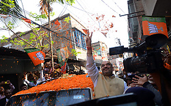 April 27, 2017 - Kolkata, India - National President of Bharatiya Janata Party (BJP), Amit Shah during the visit  of suburban  area of  Rajarhat Newtown Constituency in  Kolkata , India on Thursday 27th April 2017 . The BJP chief's three-day tour of Bengal will focus  on strengthening the BJP at the grass roots ahead of crucial panchayat or local body elections in the state next year and then the 2019 national election, when Prime Minister Narendra Modi will seek a second term as a part of Booth Chalo Avijan during his three day visit to West Bengal as part of ''Vistaar Yatra'' expansion tour. (Credit Image: © Sonali Pal Chaudhury/NurPhoto via ZUMA Press)