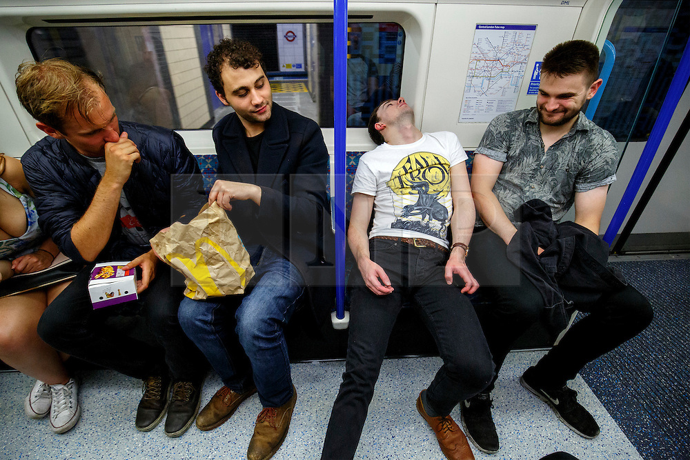 © Licensed to London News Pictures. 20/08/2016. London, UK. Tube passengers travel on the night tube service of Victoria line in London for the first time on 20 August 2016. Transport for London started a 24-hour Tube service on Victoria and Central lines as demand has soared over recent years, with passenger numbers on Friday and Saturday nights up by around 70 per cent since 2000. The plan was announced in November 2013 and intended to begin in September 2015, but strikes over pay delayed the start by nearly another year. Photo credit: Tolga Akmen/LNP