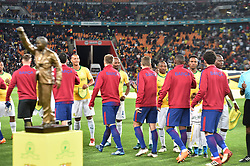 Mamelodi Sundowns player and Barcelona FC playes greed each other before playing fot the Mandela Centenary Cup at FNB stadium, Gauteng.<br />Picture: Itumeleng English/African News Agency (ANA)