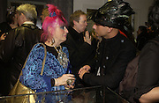 Zandra Rhodes and Paul Flather, Stephen Jones exhibition to celebrate 25 years in business, private view & reception. Dover Street Market, 17-18 Dover Street, London, W1, 1 December  2005. ONE TIME USE ONLY - DO NOT ARCHIVE  © Copyright Photograph by Dafydd Jones 66 Stockwell Park Rd. London SW9 0DA Tel 020 7733 0108 www.dafjones.com