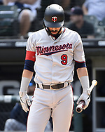 CHICAGO - JUNE 29:  Marwin Gonzalez #9 of the Minnesota Twins looks on against the Chicago White Sox on June 29, 2019 at Guaranteed Rate Field in Chicago, Illinois.  (Photo by Ron Vesely)  Subject:  Marwin Gonzalez